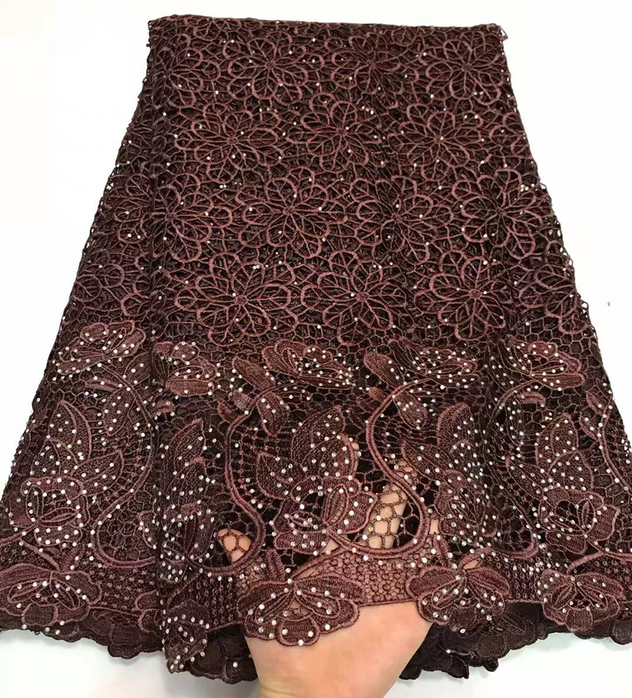 5yards/lot Brown High quality nigerian wedding african cord lace fabrics/most popular guipure cord lace fabric for party dress