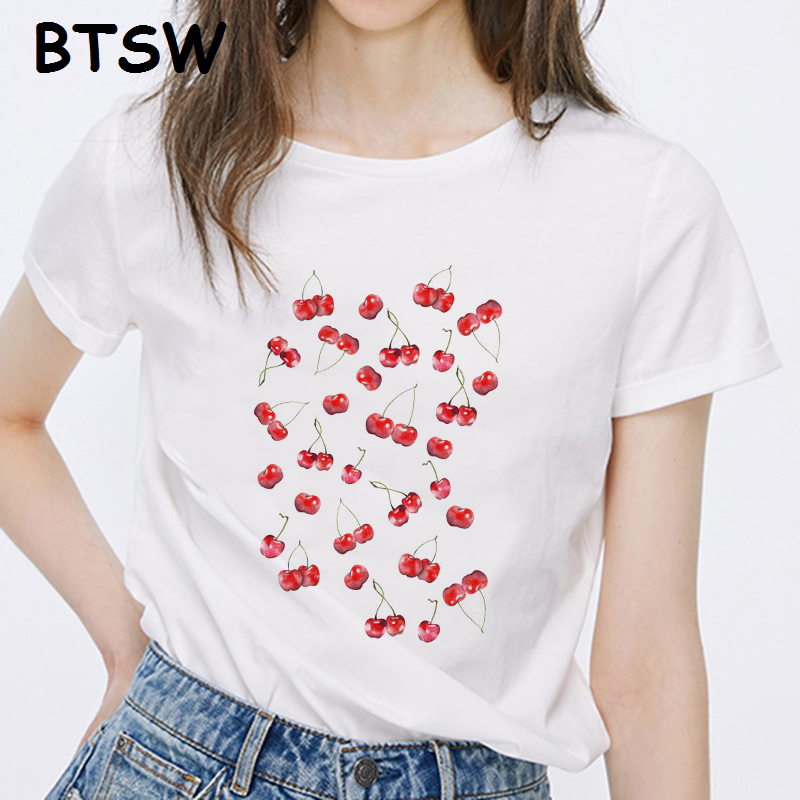 <font><b>Graphic</b></font> <font><b>Tee</b></font> <font><b>Women</b></font> Clothes <font><b>2019</b></font> Vintage Harajuku Funny T-shirts Little Cherries Camisetas Mujer Hombre Haut <font><b>Tee</b></font> Shirt Femme image