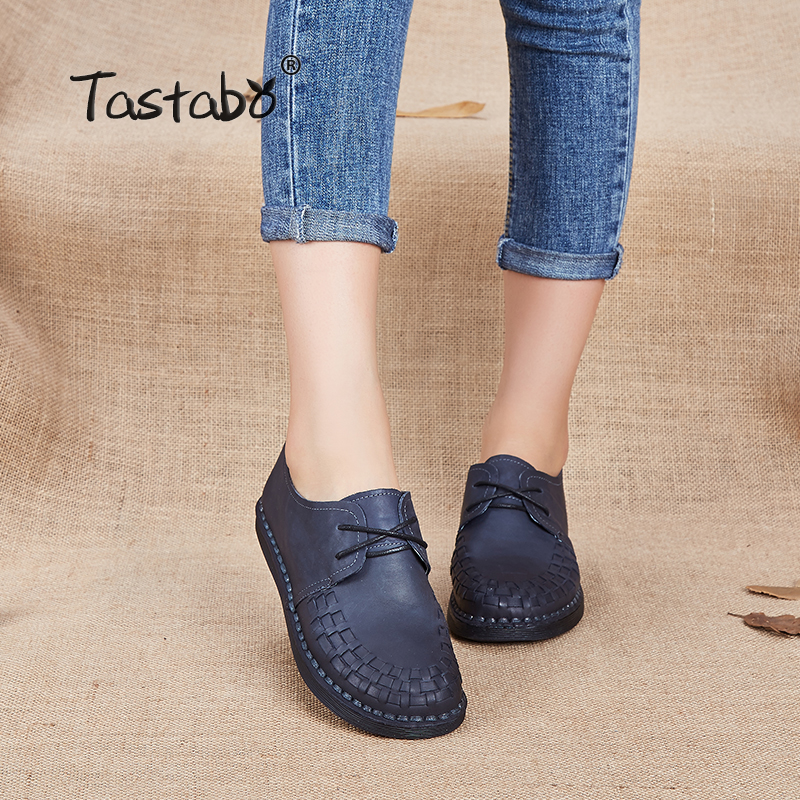 Tastabo Genuine Leather Oxford Shoes For Women Round Toe Lace-Up Casual Shoes Spring And Autumn Flat Loafers Shoes Handmade Flat tastabo handmade autumn women genuine leather shoes cowhide loafers real skin shoes folk style ladies flat shoes for mom sapato