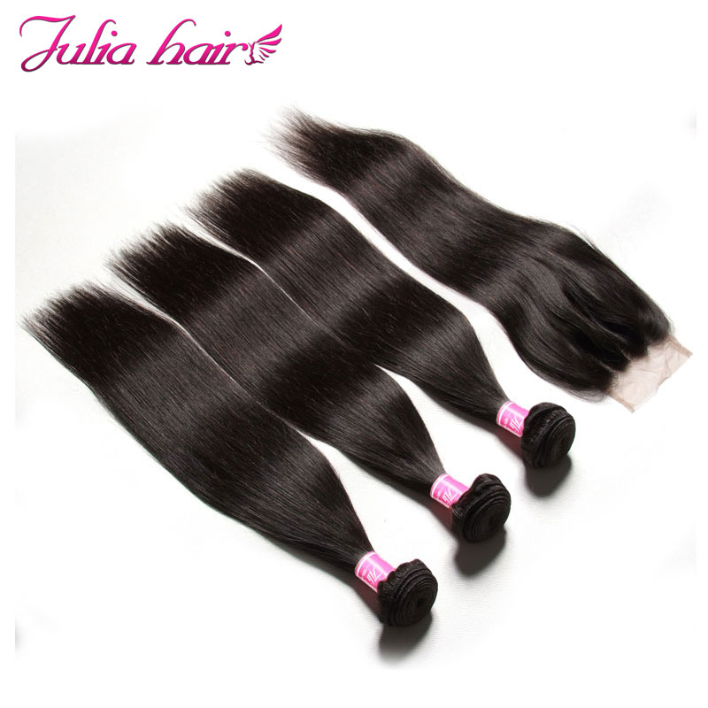Ali Julia Indian Straight Human Hair Weave 3 Bundles With Closure Free Middle Three Part Lace