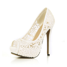 2017 New Red Lace Sexy Wedding Party Shoes Women Peep Toe Stiletto Super High Heels Platform Ladies Pumps Zapatos Mujer 3463B-h4 стоимость
