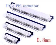 10pcs FFC / FPC conector 0.8 milímetros 5 Pin 6 7 8 10 12 14 16 18 20 22 24 26 28 30P Tipo Gaveta Fita Plana Conector Contato Topo