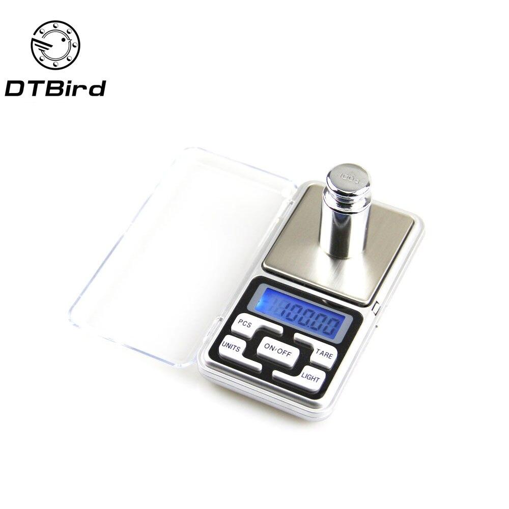 Escala de bolsillo Digital LCD portátil Escala electrónica de la joyería oro herbal Balance peso escala 100g/200g /300g/500g