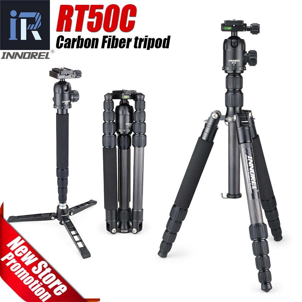 RT50C Portable Voyage Professionnel En fiber de Carbone Trépied Monopode Panoramique rotule pour DSLR appareil photo Numérique compact léger