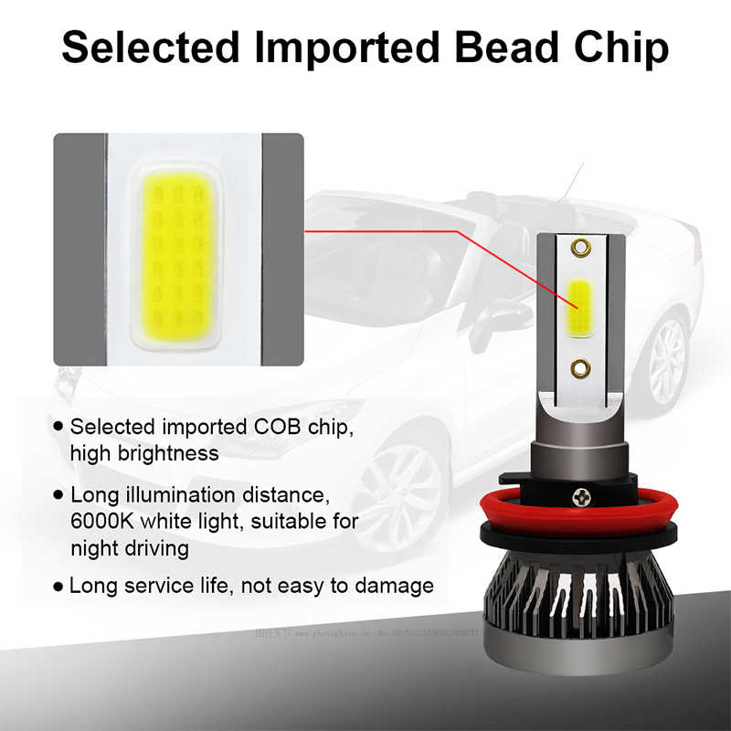 2X Car headlight Mini Lamp H7 LED Bulbs H1 LED H7 H8 H11 Headlamps 9005 HB3 9006 HB4 For Auto 12V LED Lamp 36W 8000LM FANLESS