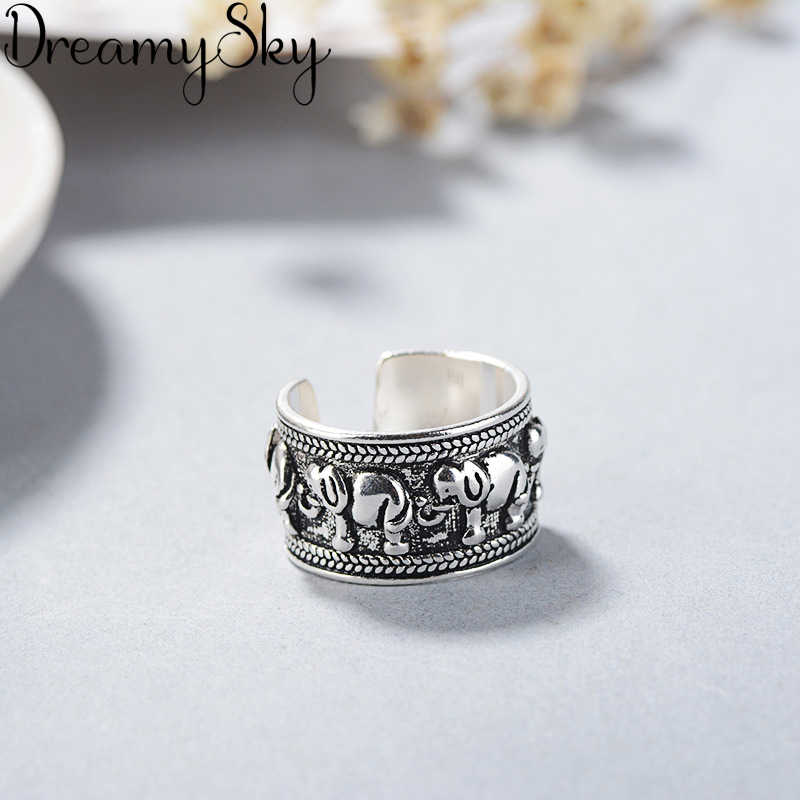 Korean Fashion 925 Sterling Silver Elephant Adjustable Size Rings For Women Ladies Luxury Jewelry Trendy Antique Ring Anillos