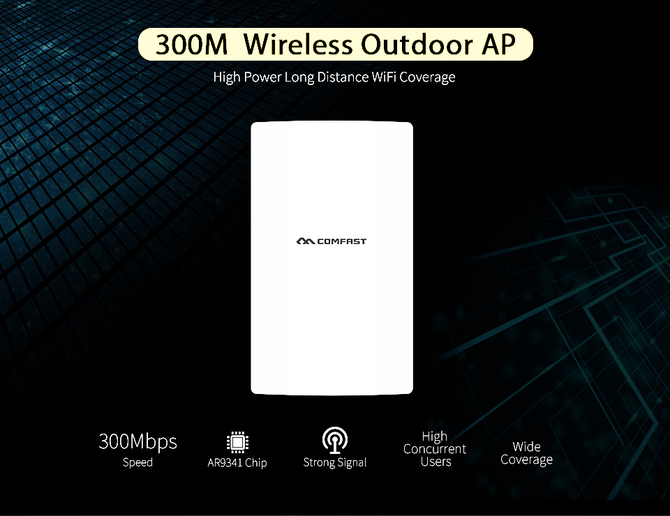Comfast High Power Outdoor Wifi Repeater 2.4GHz 300Mbps Wireless Wifi Router AP Extender Bridge nano station comfast high power wifi repeater outdoor cpe wifi router extender 2km distance 300mbps wds wireless bridge antenna routers