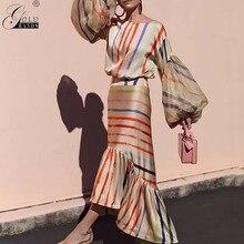 Gold Hände Neue Einzigartige Design Sexy Party Maxi Kleid Asymmetrische Striped Beiläufige Art Und Weise Kleid Rüschen Schmetterling Hülse Kleider