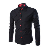 Hot Spring Autumn Dress Shirts Men's Solid Rhombus Grid Design Business Long Sleeve Shirt Casual Plus Size Red Brand Shirts