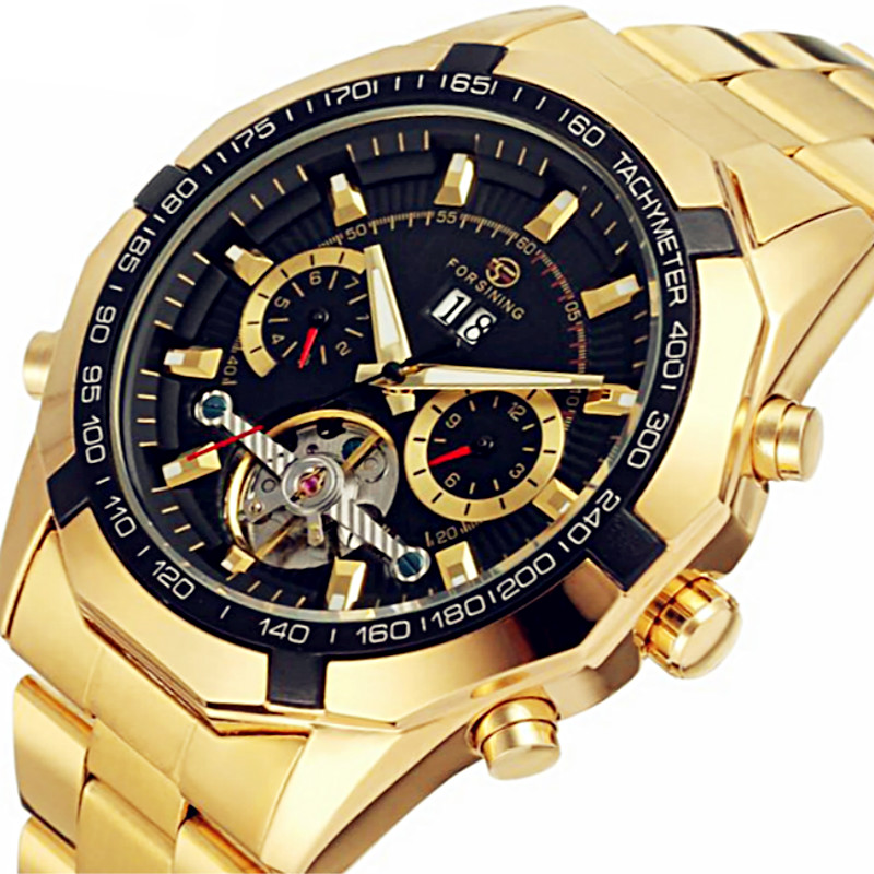 2018 New FORSINING Tourbillon Men Automatic Watches Men Full Stainless Steel Mechanical Watch Month Date Week Relogio Masculino