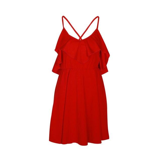 Lossky Summer Sexy Dress Women's 2019 Backless Cross Drawstring Ruffles Bundle Waist V-neck Strap Mini Dress Summer Red Vintage 2
