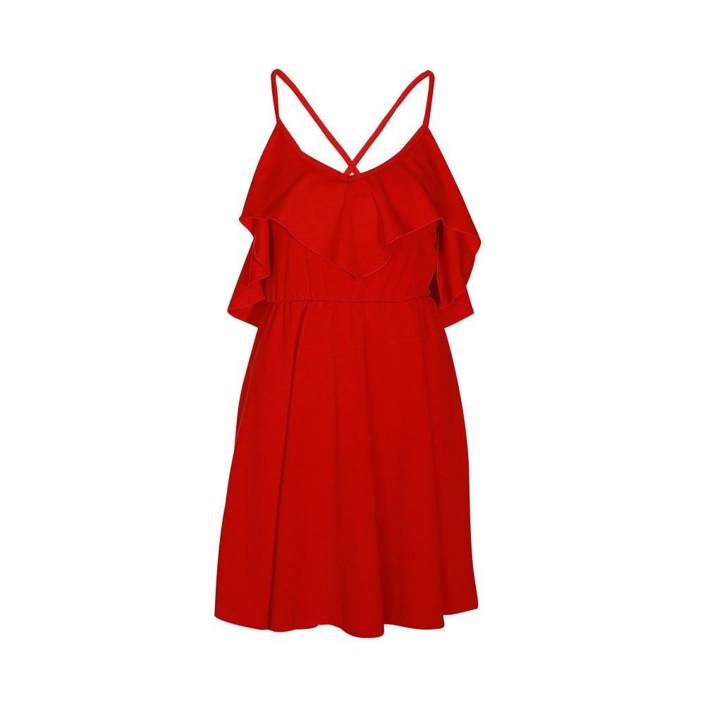 Lossky Summer Sexy Dress Women s 2018 Backless Cross Drawstring Ruffles Bundle Waist V neck Strap