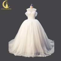 Real Picture Rhine Romantic Sexy Off The Shoulder Ruffle Ball Gown Fashion Bridal Wedding Dresses