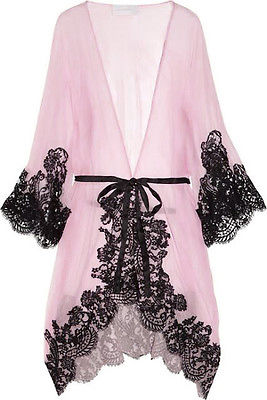 Women Lace Kimono Gown Bath Robe Babydoll Sexy Lingerie + G-string See-throug