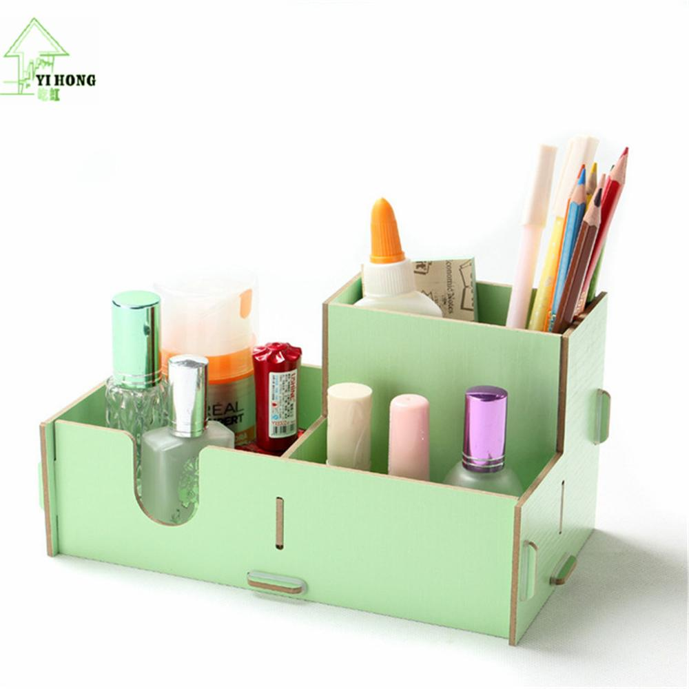 Stationary Boxes Us 17 69 20 Off Yihong Diy Wooden Cosmetic Desktop Pen Pencil Storage Box Jewelry Cosmetic Stationery Storage Shelf Boxes For Halloween Gift In