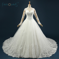 Real Sample Gorgeous Keyhole Back Ball Gown Puffy Bridal Wedding Gown Lace Appliques Lovely Wedding Gowns robe de mariage ASAW29