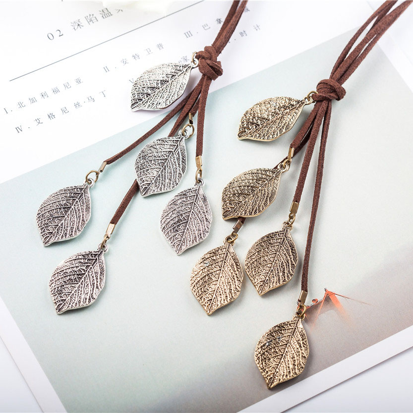 Long Necklace Women Jewelry Vintage multi Leavies necklaces & pendants Fashion Cotton Chain Women Necklace relogio choker colar