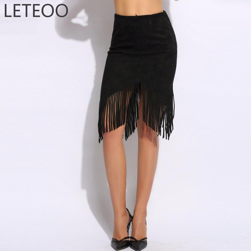 Spring Faux Suede Asymmetrical Pencil Skirt Fringe Women 2017 High Waist Fashion Tassel Midi Skirt Casual Lady Short Bodycon L2