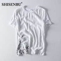 Chinese ink bamboo pattern linen t shirt men Ultra Light short sleeve mens tshirts cotton Loose male Pullover oversize Hip hop