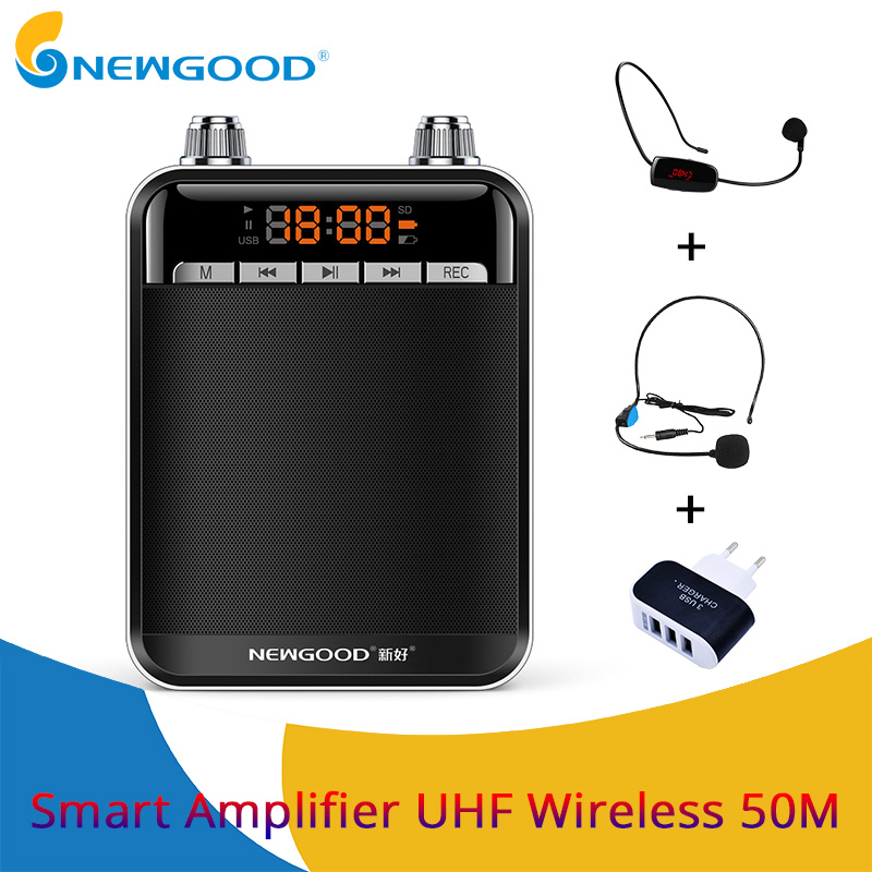 Portable Speaker Mini UHF Wireless MIC Voice Amplifier Loudspeaker FM Radio with Headset Microphone For teachers tour guide rolton k300 megaphone portable voice amplifier waist band clip support fm radio tf mp3 speaker power bank tour guides teachers