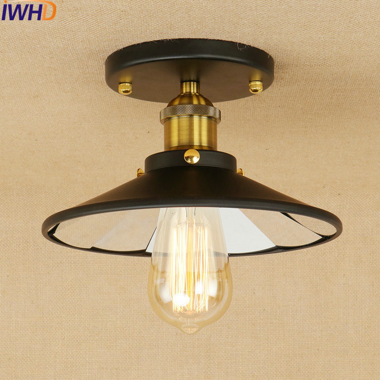Lustre Lens Retro LED Ceiling Lights Loft Industrial Vintage Ceiling Lamp Fixtures Home Lighting Stairs Luminarias Para Teto