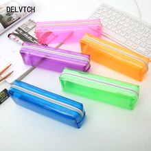 DELVTCH Middle School Student Pencil Bag Colourful Rectangle Simple And Easy Solid Color Transparent Case