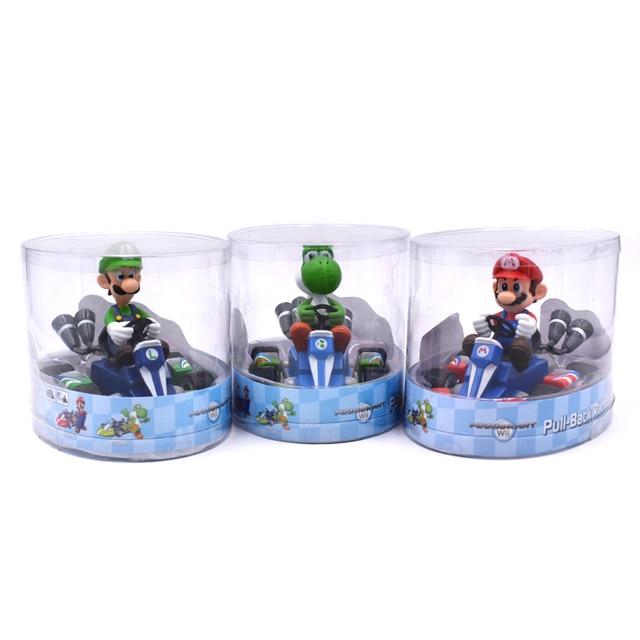 Super Mario Bros figurines 13Cm japon Anime Luigi dinosaures âne Kong Bowser Kart tirer voiture Pvc Figma enfants jouets chauds pour garçons