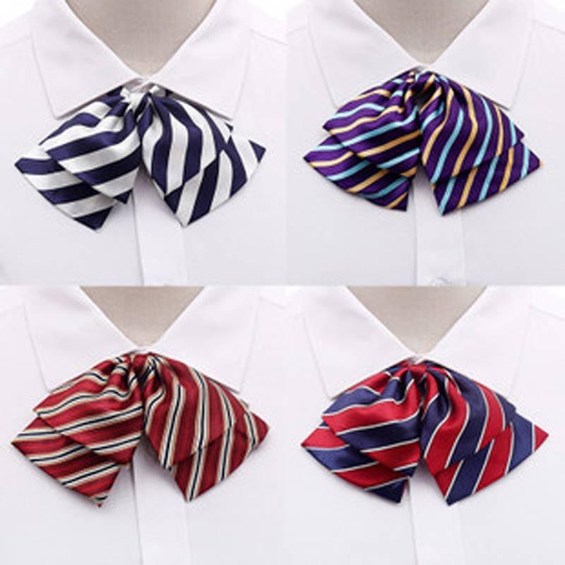 YISHLINE Women Waiter Rainbow Zebra Stripe Bow Tie Polyester Silk Butterfly Children School Party Wedding Banquet Bowtie Collar