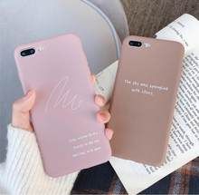 Korea Pink Letter Print Phone Case for Iphone Xs Max Xr Anti-knock Simple Silicon Rubber Case for Iphone 7 8plus 6s Back Cover(China)