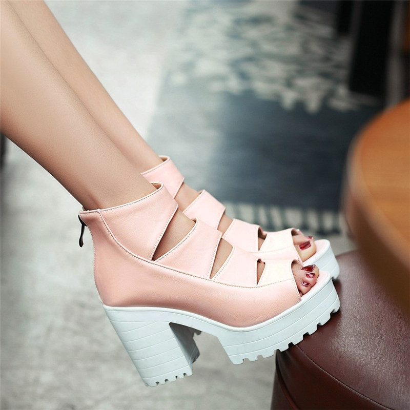 New Summer Lady Strappy Platform Block Heel Chunky Pure Buckle Leather Peep Toe Ankle High Sandals