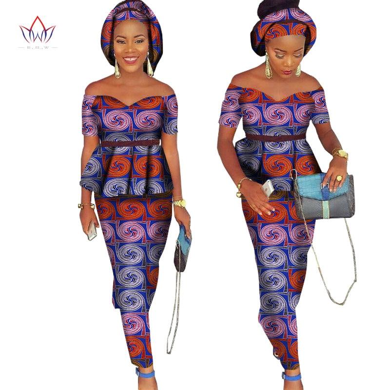 African Bazin Riche Klänning för Kvinnor 2 Pieces Set Tops & - Nationella kläder - Foto 5