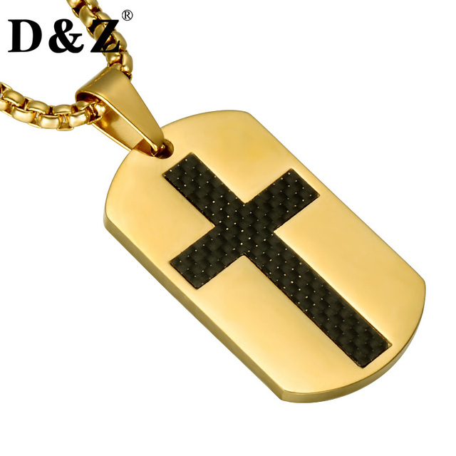 D&Z Gold Color Dog Tags Cross Necklaces Stainless Steel Christmas Crucifix Penda