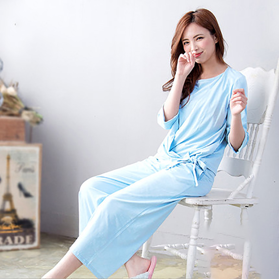 Maternity Nursing Pajamas For Pregnant Women Shirt Feeding Solid Soft Fashion Cotton Maternity Nightwear Breastfeeding 70M0171
