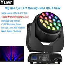 цена Big Bee Eye Moving Head Light ROTATION 19x15w O-sram Ostar RGBW leds Individual LED control DMX512 100% Copy A.LEDA B-EYE K10 онлайн в 2017 году