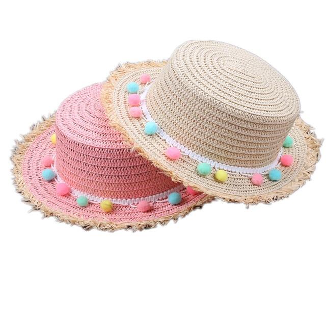 Children Sun Straw Hats Summer Girls Floppy Wide Brim Beach Bucket Cap Cute  Color Ball Straw Hat Fashion Seaside Vacation Caps 4202ddf1b72d