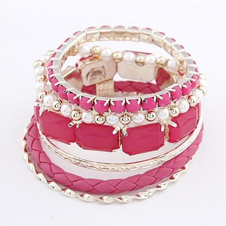 LEMOER Heißer Verkauf Böhmen Arcylic Solide Farbe Kunststoff Perlen Perlen Multi Schichten Armband Armreif