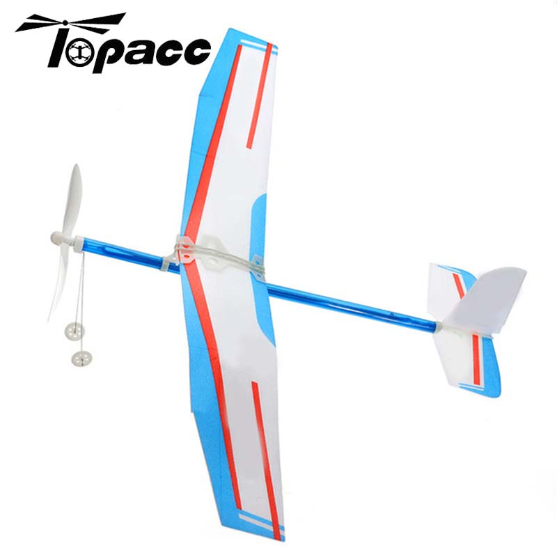 Assemble Airplane Elastic Rubber Band Powered DIY Propeller Plane Toy Kit Aircraft Model Outdoor Sports Children Kids Toy