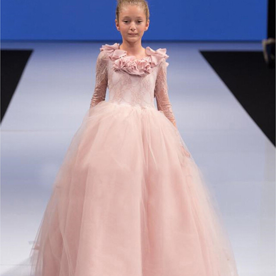 Flower Girl Pageant Dresses 2016 Lace Tulle Kids Prom Dress O-Neck Long Sleeves Ball Gown First Communion Gown for Girls 2018 purple v neck bow pearls flower lace baby girls dresses for wedding beading sash first communion dress girl prom party gown
