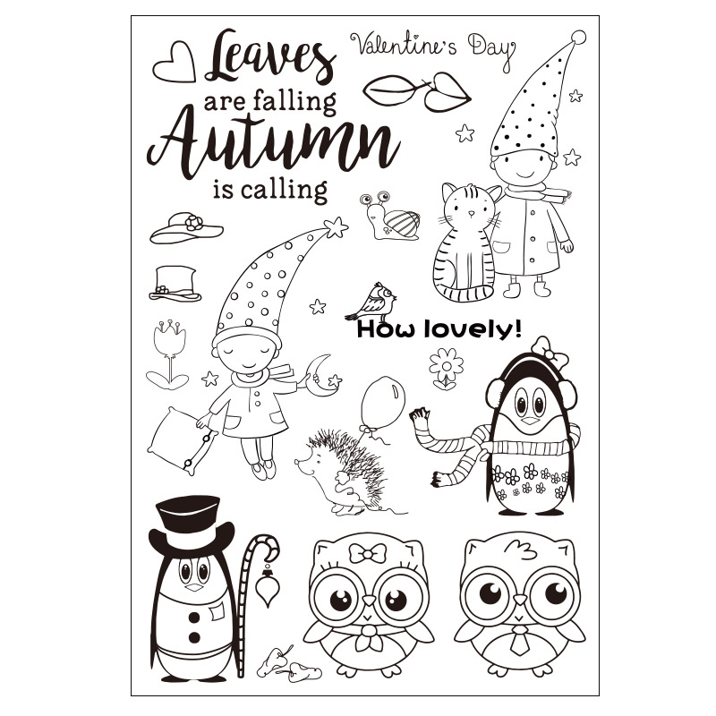 Boy and Owls Transparent Clear Silicone Stamp/seal for DIY Scrapbooking/photo Album Decorative Clear Stamp Sheets lovely animals and ballon design transparent clear silicone stamp for diy scrapbooking photo album clear stamp cl 278