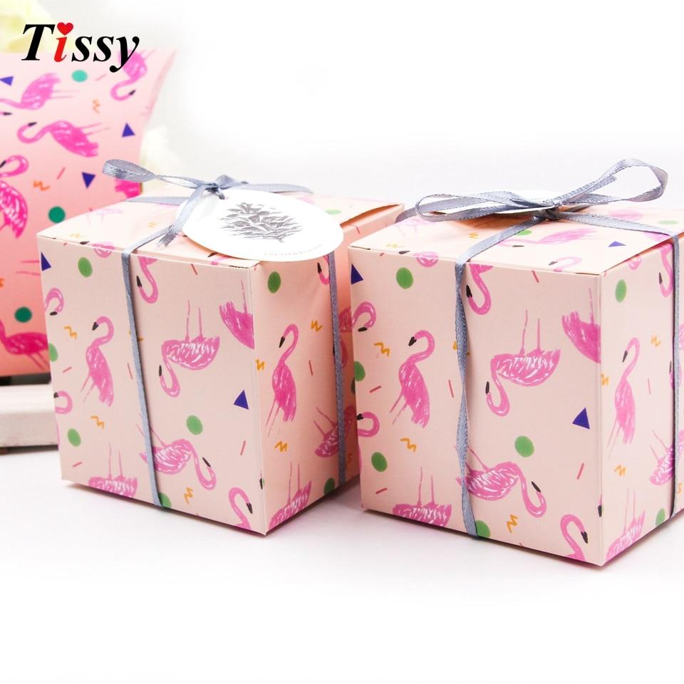 2PCS/Lot Flamingo Gift Box Candy Pattern Cute Square DIY Kraft Paper ...