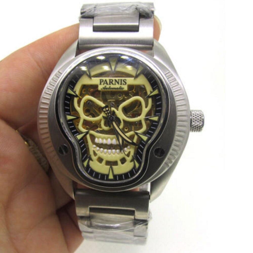 43mm parnis Sapphire Miyota Automatic Top Brand Men's Mechanical Watch Super Luminous Skull Dial skull cat print crescent hem top