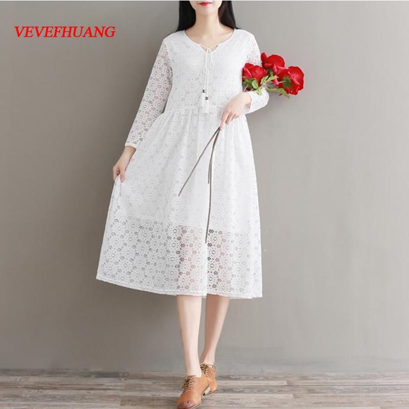 VEVEFHUANG 2018 Mori Girl Spring Autumn Women White Dress Hollow Out Full Sleeve Vestidos Femininos Elegant Lace Party Dress