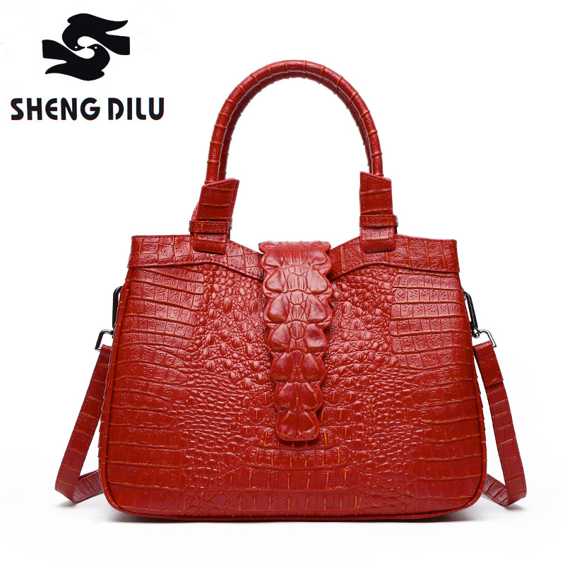 100% Genuine Leather Handbag For Women Crocodile Cow Leather Shoulder Bag Lady Real Leather Tote Bag Genuine Leather Women Bag women crocodile embossed bag handbags 100% genuine cow leather for women handbag flaps shoulder tote messenger bag famous brands