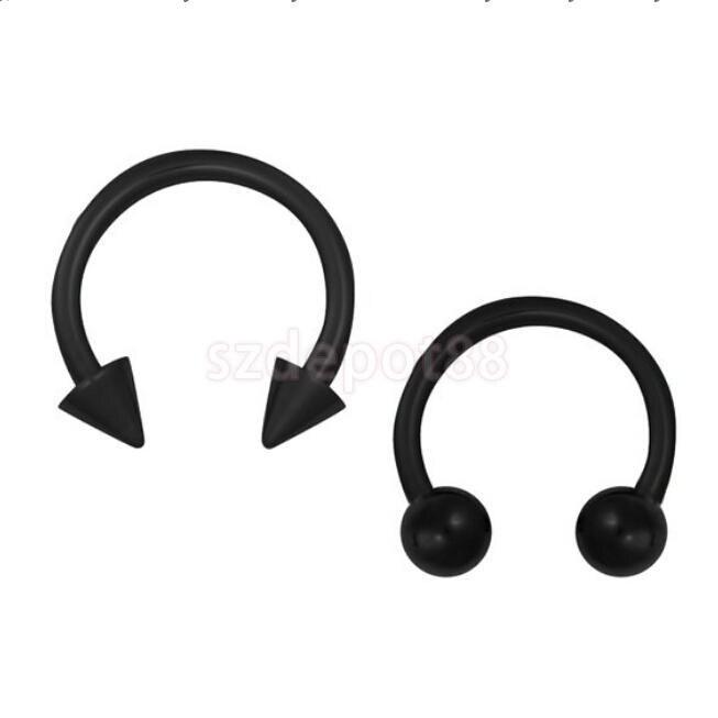 Stainless Steel Spike Horseshoe Ball Septum Nose Ear Rings Black Free Shipping