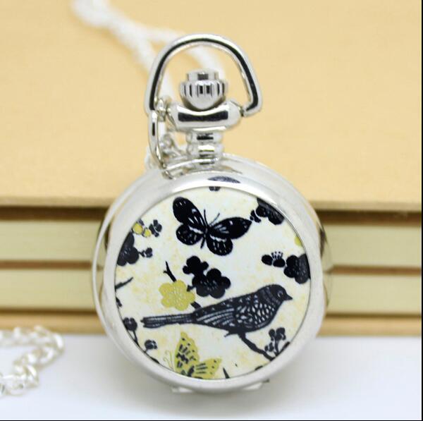 NEW Enamel Fashion Quartz Bird Butterfly Design Woman And Girl Pendant Necklace Pocket Watches PKU156