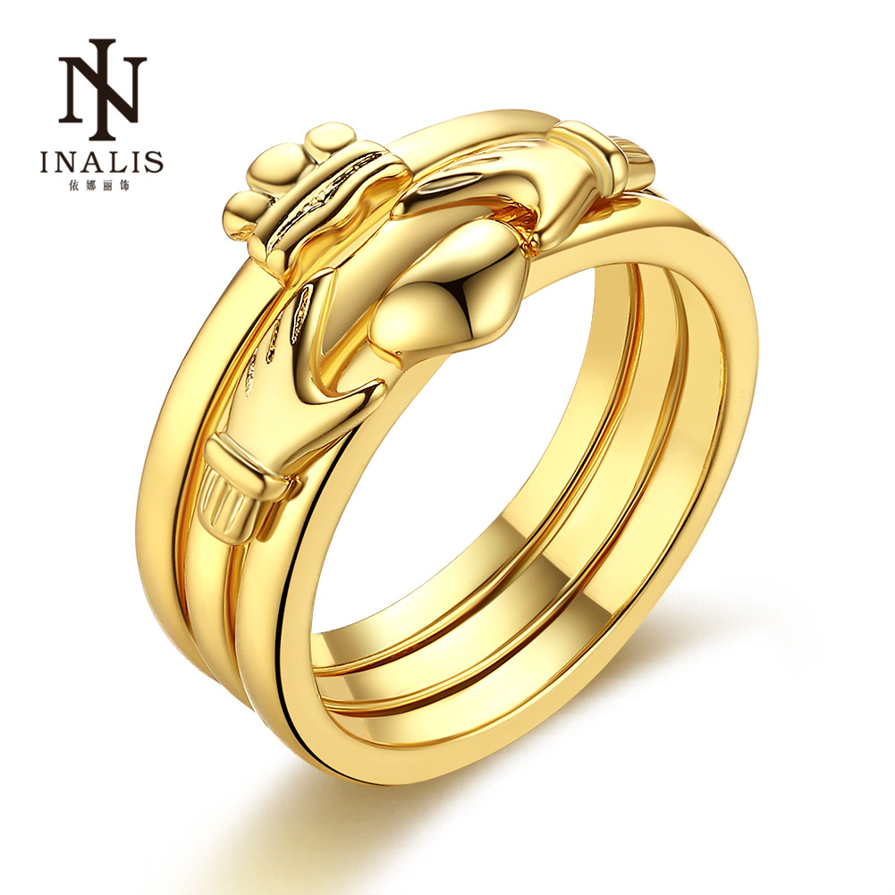 Inalis Gold Female Rings Hand Shake Heart Funny Style Fine Gift For Women  Party Dress Accessories