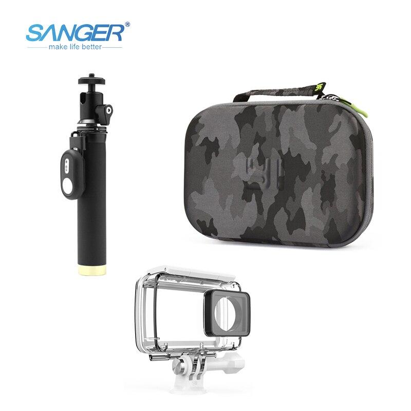 SANGER étui étanche auto-bâton Camouflage sac Bluetooth télécommande 3in1 kit pour Xiaomi Yi 4 K Action caméra accessoires