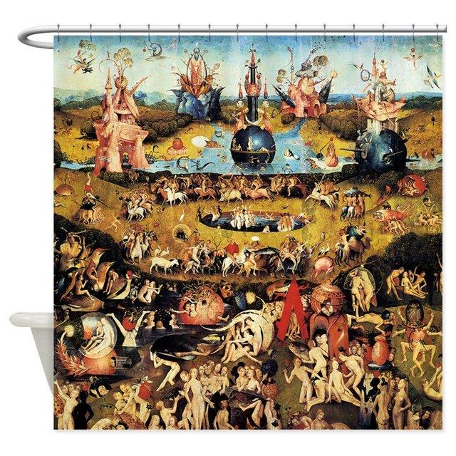 Hieronymus Bosch Giardino Delle Delizie Doccia Tessuto Decorativo Tenda Della Do