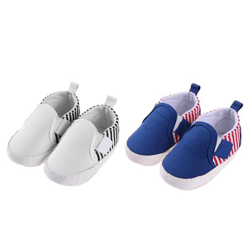 Spring Summer Unisex Baby Infant Leisure Sports Shoes Soft Cotton Toddler Stripe First Walkers Shoes for Baby Girls Boys