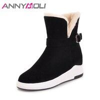 ANNYMOLI Women Winter Boots Ankle Boots Spring Platform Wedges Shoes Australian Boots Buckle Hidden Heel Warm